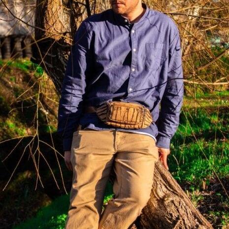 bæltetaske woodlook vegansk sorte striber2