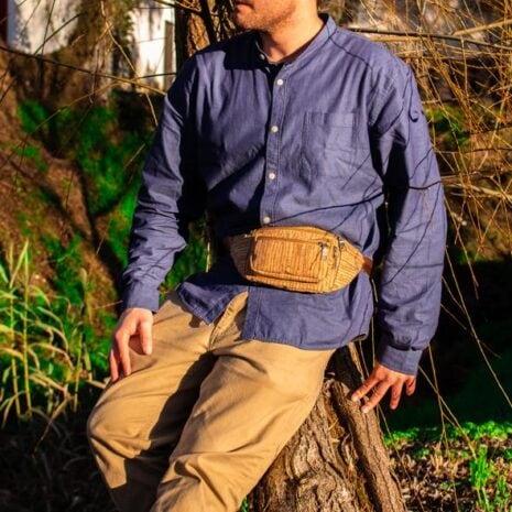 bæltetaske woodlook vegansk striber4