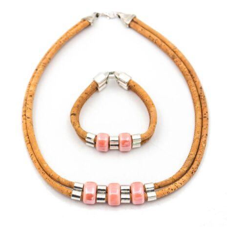 lyserødt-smykkesæt-halskæde-armbånd
