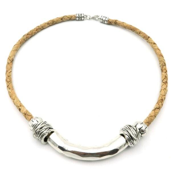 Håndlavet snoet halskæde sølv