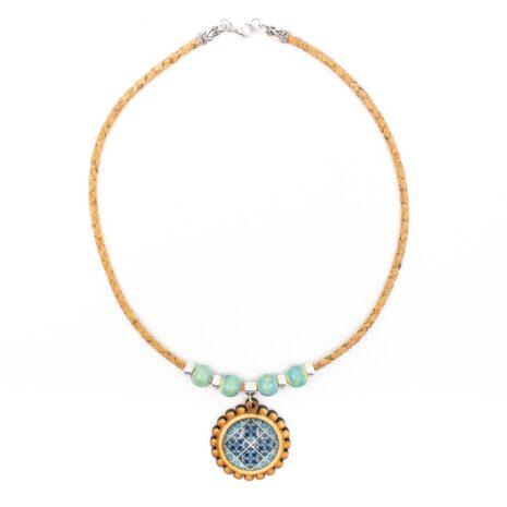 blå mosaik halskæde kork (1)