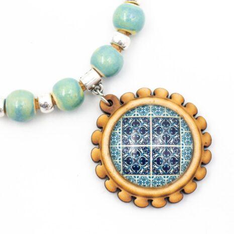 blå mosaik halskæde kork (3)