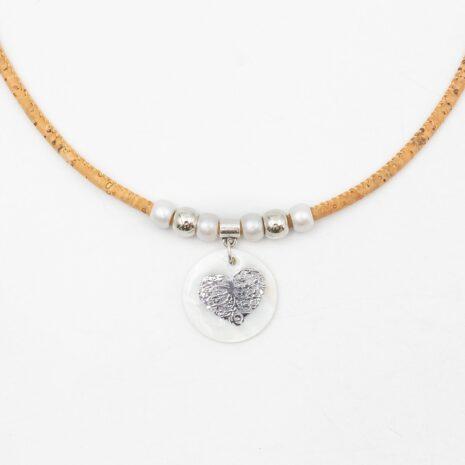 halskæde hjerte pendant naturlig korksnor (2)