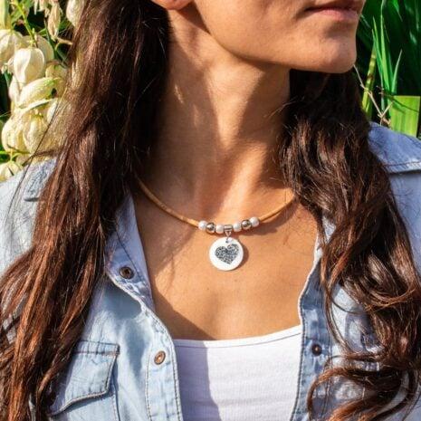 halskæde hjerte pendant naturlig korksnor (4)