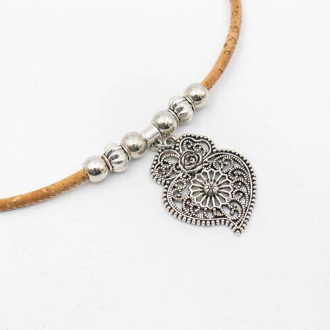 halskæde korksnor hjerte sølv (2)