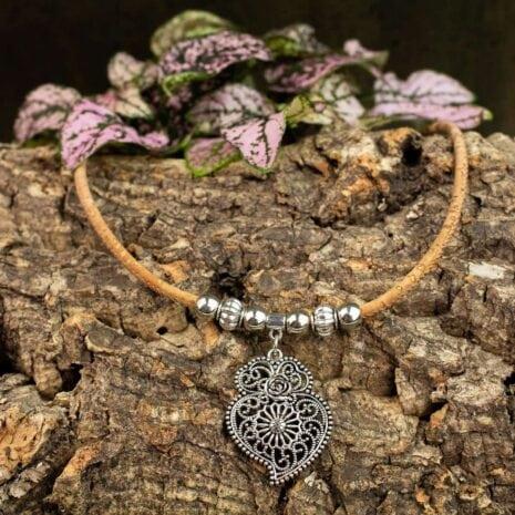 halskæde korksnor hjerte sølv (3)