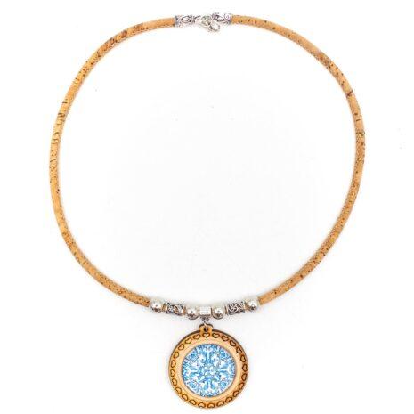 halskæde unik blå pendant træ (1)
