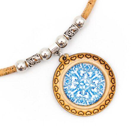 halskæde unik blå pendant træ (2)