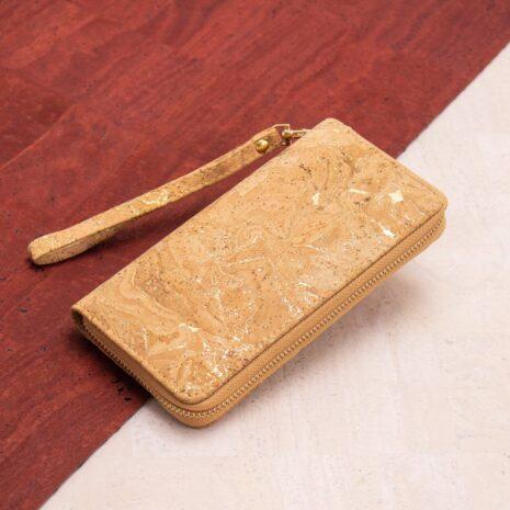 Vegansk damepung lavet af korklder med guldsprækker BAG-2049