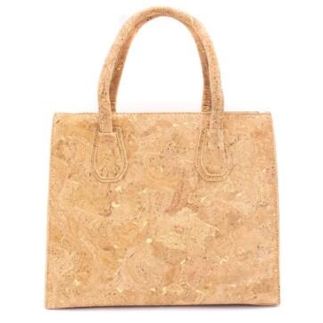 Håndtaske lavet af korklæder med guldsprækker