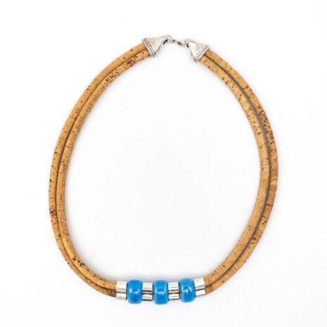 Halskæde af korklæder med blå sten (2)