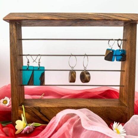 Runde øreinge lavet af træ (6)