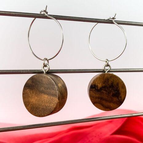 Runde øreinge lavet af træ (7)