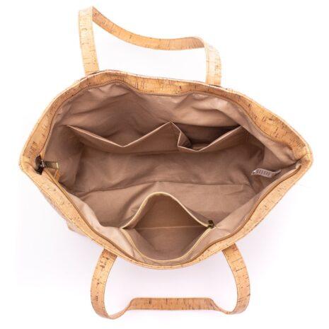 Åben håndtaske lavet af korklæder