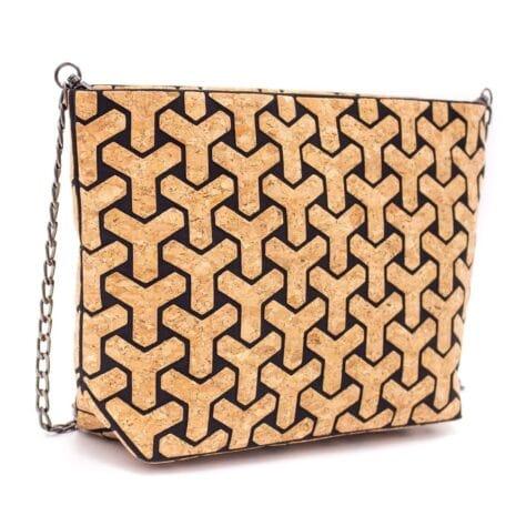 Vegansk håndtaske lavet af korklæder med sort mønster (1)