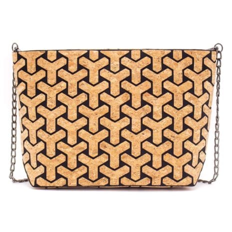 Vegansk håndtaske lavet af korklæder med sort mønster (3)